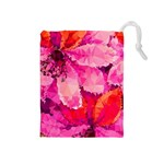 Geometric Magenta Garden Drawstring Pouches (Medium)  Front