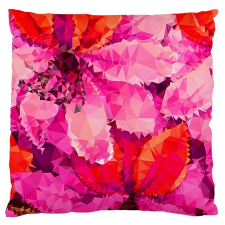 Geometric Magenta Garden Large Flano Cushion Case (One Side)