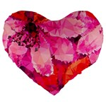 Geometric Magenta Garden Large 19  Premium Flano Heart Shape Cushions Front