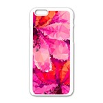 Geometric Magenta Garden Apple iPhone 6/6S White Enamel Case Front