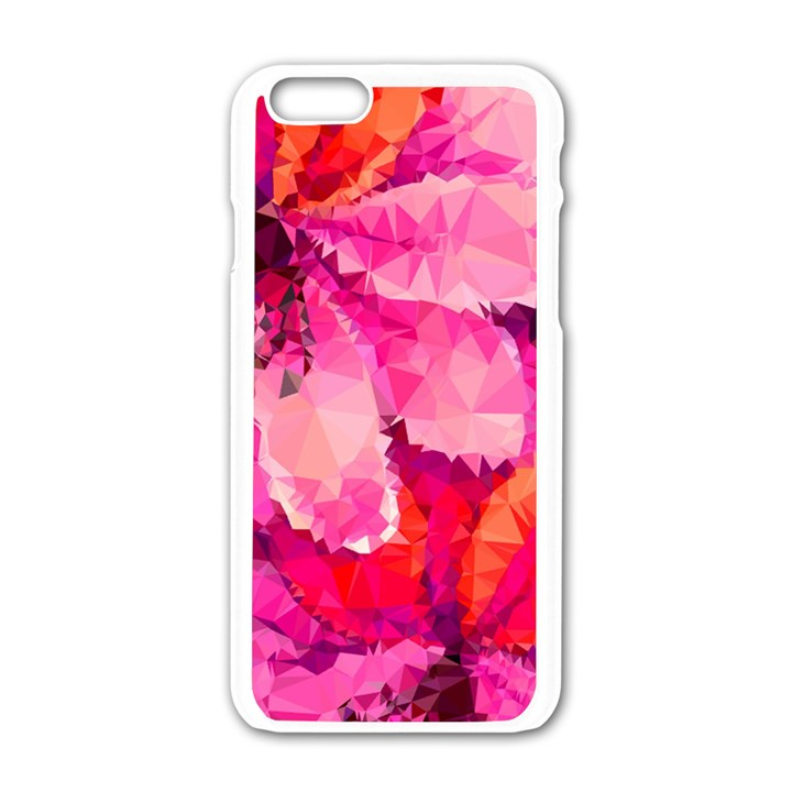 Geometric Magenta Garden Apple iPhone 6/6S White Enamel Case