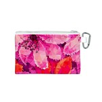 Geometric Magenta Garden Canvas Cosmetic Bag (S) Back