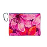 Geometric Magenta Garden Canvas Cosmetic Bag (M) Front