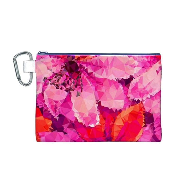 Geometric Magenta Garden Canvas Cosmetic Bag (M)