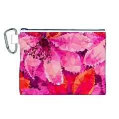 Geometric Magenta Garden Canvas Cosmetic Bag (L)