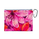 Geometric Magenta Garden Canvas Cosmetic Bag (L) Back