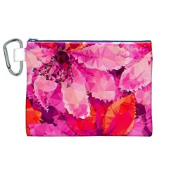 Geometric Magenta Garden Canvas Cosmetic Bag (xl)