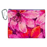 Geometric Magenta Garden Canvas Cosmetic Bag (XXL) Front