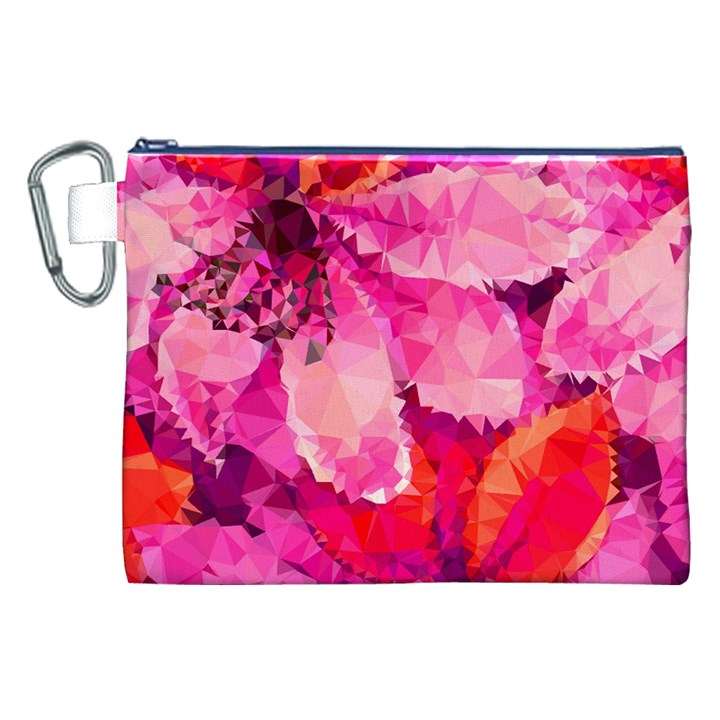 Geometric Magenta Garden Canvas Cosmetic Bag (XXL)