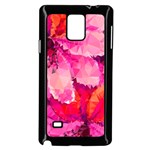 Geometric Magenta Garden Samsung Galaxy Note 4 Case (Black) Front