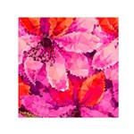 Geometric Magenta Garden Small Satin Scarf (Square)  Front