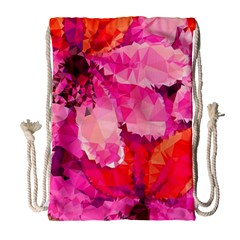 Geometric Magenta Garden Drawstring Bag (Large)