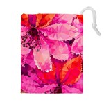 Geometric Magenta Garden Drawstring Pouches (Extra Large) Front