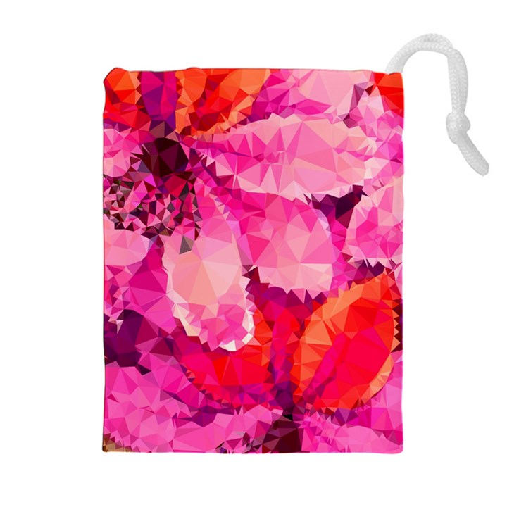 Geometric Magenta Garden Drawstring Pouches (Extra Large)