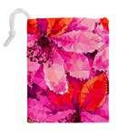 Geometric Magenta Garden Drawstring Pouches (Extra Large) Back