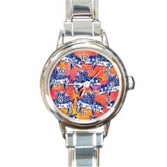 Little Flying Pigs Round Italian Charm Watch