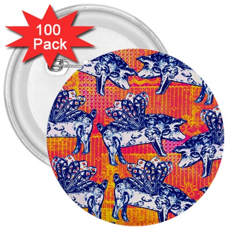 Little Flying Pigs 3  Buttons (100 pack)
