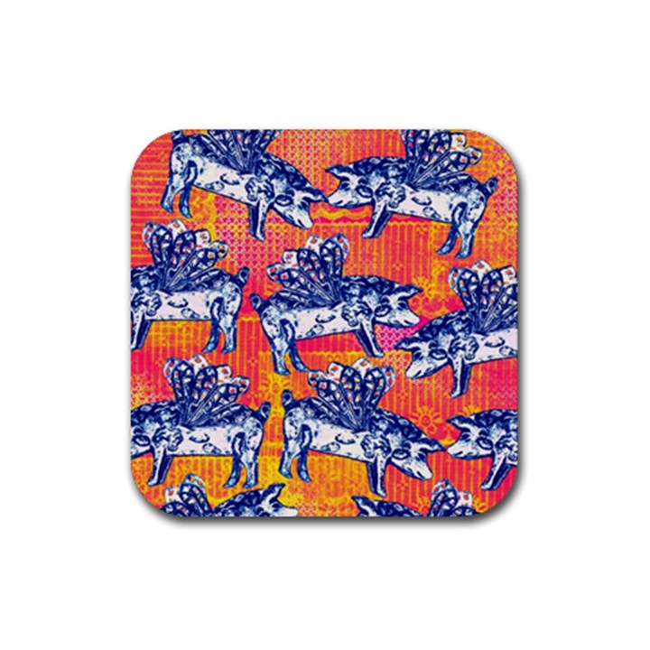 Little Flying Pigs Rubber Coaster (Square)