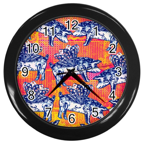 Little Flying Pigs Wall Clocks (Black)
