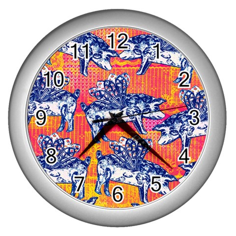 Little Flying Pigs Wall Clocks (Silver)