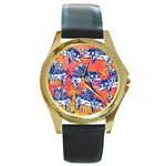 Little Flying Pigs Round Gold Metal Watch Front