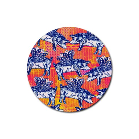 Little Flying Pigs Rubber Coaster (Round)