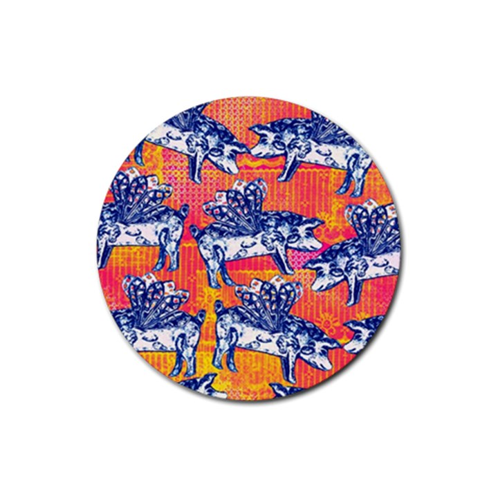 Little Flying Pigs Rubber Round Coaster (4 pack)
