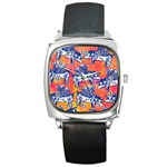 Little Flying Pigs Square Metal Watch Front