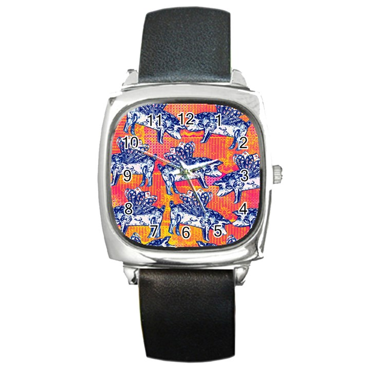 Little Flying Pigs Square Metal Watch