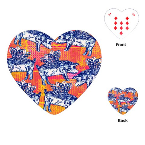 Little Flying Pigs Playing Cards (Heart)