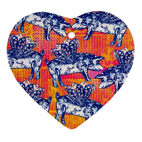 Little Flying Pigs Heart Ornament (2 Sides)