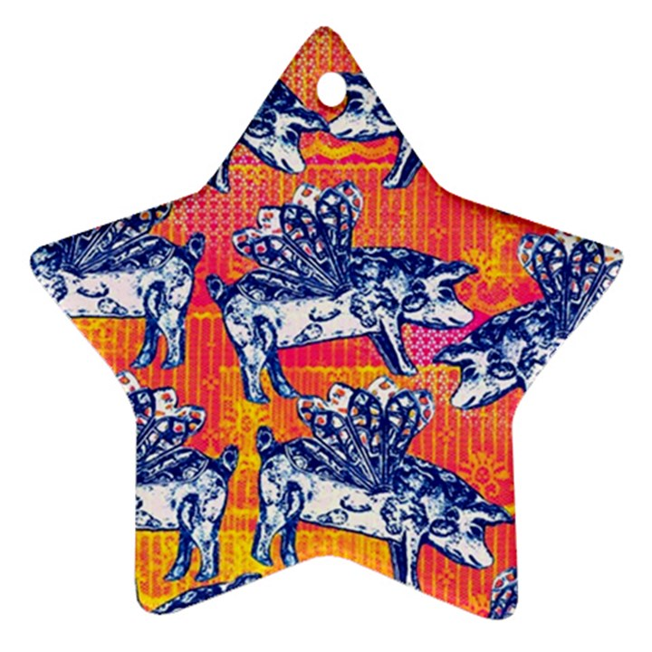 Little Flying Pigs Star Ornament (Two Sides)