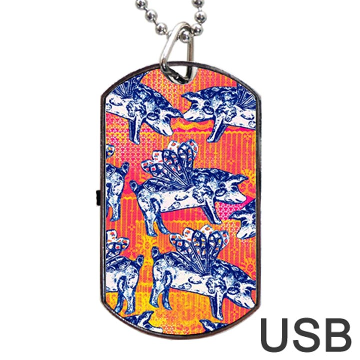 Little Flying Pigs Dog Tag USB Flash (One Side)
