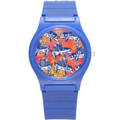 Little Flying Pigs Round Plastic Sport Watch (S)