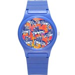 Little Flying Pigs Round Plastic Sport Watch (S) Front