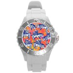 Little Flying Pigs Round Plastic Sport Watch (L) Front
