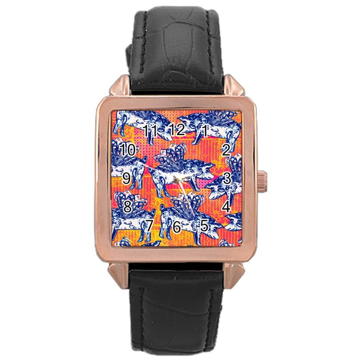 Little Flying Pigs Rose Gold Leather Watch