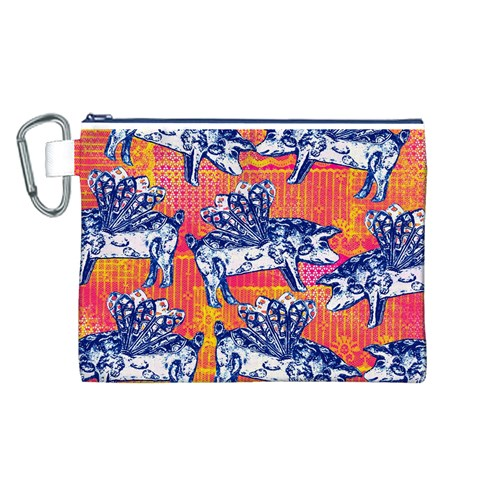 Little Flying Pigs Canvas Cosmetic Bag (L)
