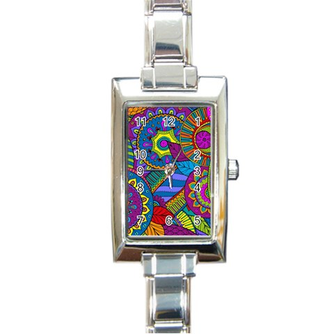 Pop Art Paisley Flowers Ornaments Multicolored Rectangle Italian Charm Watch