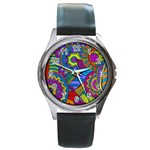 Pop Art Paisley Flowers Ornaments Multicolored Round Metal Watch Front