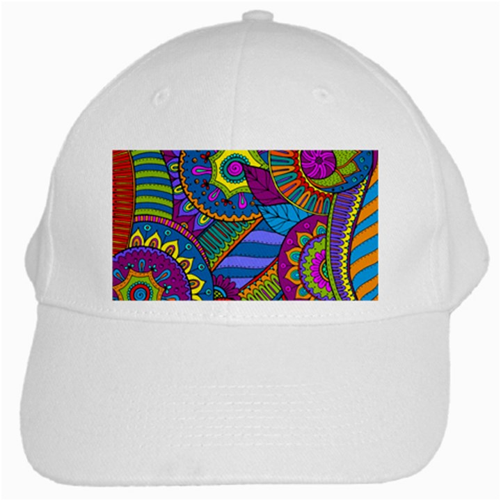 Pop Art Paisley Flowers Ornaments Multicolored White Cap