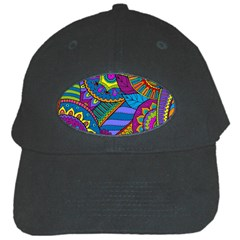 Pop Art Paisley Flowers Ornaments Multicolored Black Cap