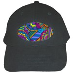 Pop Art Paisley Flowers Ornaments Multicolored Black Cap Front