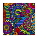 Pop Art Paisley Flowers Ornaments Multicolored Tile Coasters Front