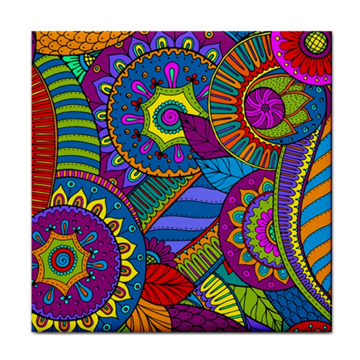 Pop Art Paisley Flowers Ornaments Multicolored Tile Coasters