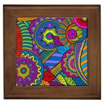 Pop Art Paisley Flowers Ornaments Multicolored Framed Tiles Front
