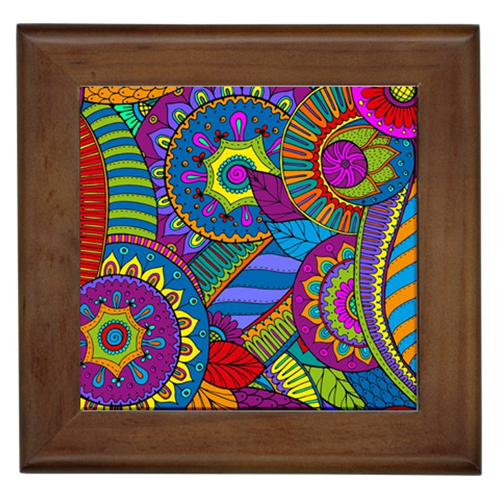Pop Art Paisley Flowers Ornaments Multicolored Framed Tiles