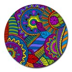 Pop Art Paisley Flowers Ornaments Multicolored Round Mousepads Front