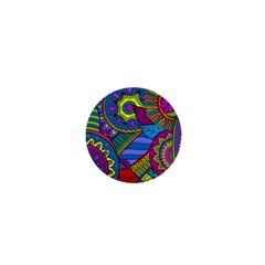 Pop Art Paisley Flowers Ornaments Multicolored 1  Mini Buttons