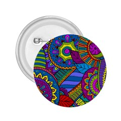 Pop Art Paisley Flowers Ornaments Multicolored 2 25  Buttons